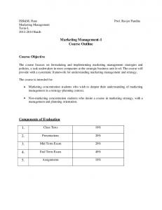 Marketing Management-1 Course Outline