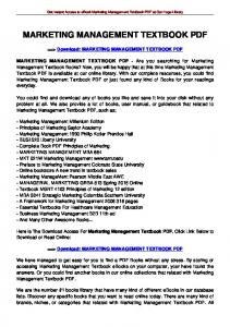 MARKETING MANAGEMENT TEXTBOOK PDF