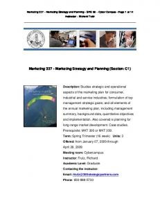 Marketing Marketing Strategy and Planning (Section: C1)