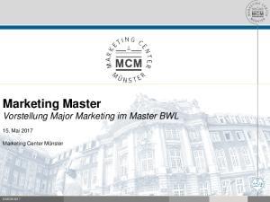Marketing Master Vorstellung Major Marketing im Master BWL