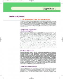 MARKETING PLAN The Marketing Plan: An Introduction