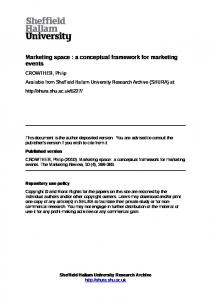 Marketing space : a conceptual framework for marketing events