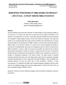 MARKETING STRATEGIES OF SMEs BASED ON PRODUCT LIFE CYCLE A STUDY AMONG SMEs IN KOSOVO