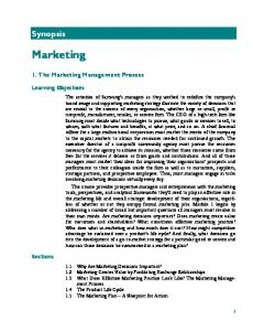 Marketing. Synopsis. 1. The Marketing Management Process. Learning Objectives. Sections