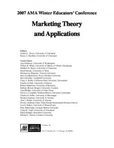 Marketing Theory and Applications