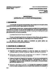 MARKETING X (OPERATIVA DE LA VENTA INTERNACIONAL)
