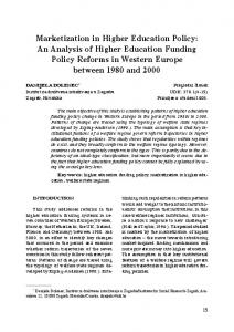 Marketization in Higher Education Policy: An Analysis of Higher Education Funding Policy Reforms in Western Europe between 1980 and 2000