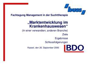 Marktentwicklung im Krankenhauswesen