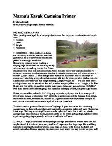 Marna's Kayak Camping Primer