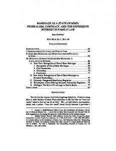 MARRIAGE AS A STATE OF MIND: FEDERALISM, CONTRACT, AND THE EXPRESSIVE INTEREST IN FAMILY LAW