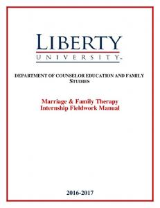 Marriage & Family Therapy Internship Fieldwork Manual