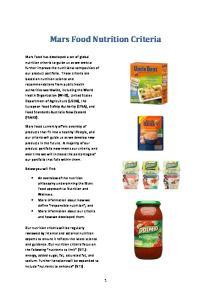 Mars Food Nutrition Criteria