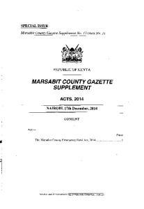 MARSABIT COUNTY GAZETTE SUPPLEMENT ACTS, 2014