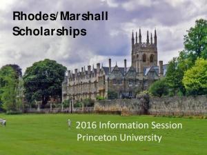 Marshall Scholarships Information Session Princeton University