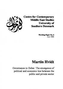 Martin Hvidt. Centre for Contemporary Middle East Studies University of Southern Denmark