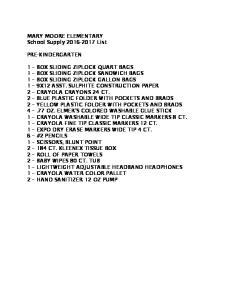 MARY MOORE ELEMENTARY School Supply List PRE-KINDERGARTEN