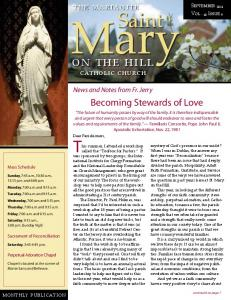 Mary. on the hill. catholic church. News and Notes from Fr. Jerry