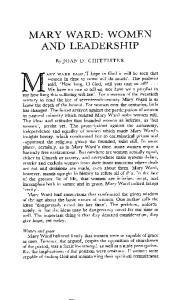 MARY WARD: WOMEN AND LEADERSHIP