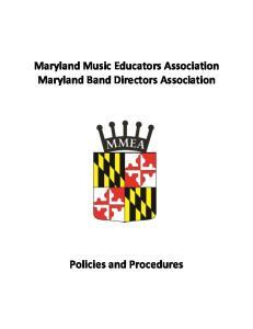 Maryland Music Educators Association Maryland Band Directors Association
