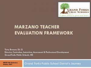 MARZANO TEACHER EVALUATION FRAMEWORK