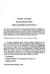 MAS DE - MAS QUE. Salvador Gutiérrez Ordóñez