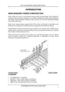 MASONRY VENEER CONSTRUCTION INTRODUCTION