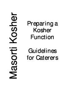 Masorti Kosher. Preparing a Kosher Function. Guidelines for Caterers