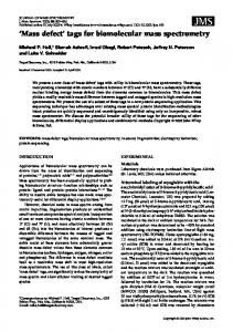 Mass defect tags for biomolecular mass spectrometry