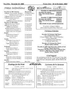 Mass Intentions. Lecturas de la Semana. Christmas Schedule