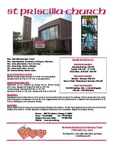 MASS SCHEDULE. Seventh Sunday in Ordinary Time February 23, 2014