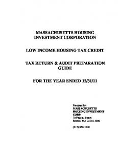 MASSACHUSETTS HOUSING INVESTMENT CORPORATION TAX RETURN & AUDIT PREPARATION GUIDE