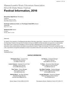 Massachusetts Music Educators Association 62nd All-State Music Festival Festival Information, 2016