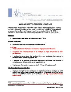 MASSACHUSETTS PAID SICK LEAVE LAW