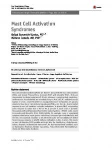 Mast Cell Activation Syndromes