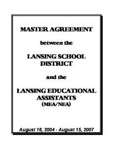 MASTER AGREEMENT LANSING SCHOOL DISTRICT LANSING EDUCATIONAL ASSISTANTS