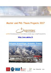 Master and PhD Thesis Projects 2017