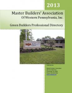 Master Builders Association Of Western Pennsylvania, Inc