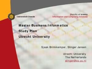 Master Business Informatics Study Plan Utrecht University