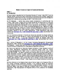 Master Circular on Export of Goods and Services