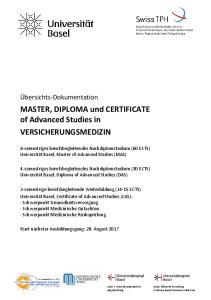 MASTER, DIPLOMA und CERTIFICATE of Advanced Studies in VERSICHERUNGSMEDIZIN