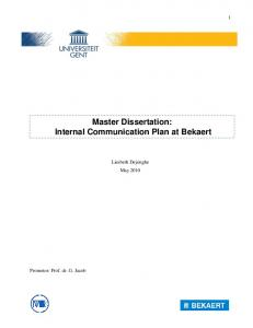 Master Dissertation: Internal Communication Plan at Bekaert