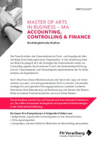 MASTER OF ARTS IN BUSINESS MA ACCOUNTING, CONTROLLING & FINANCE