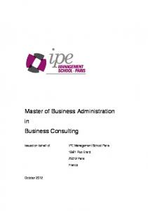Master of Business Administration in Business Consulting