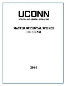 MASTER OF DENTAL SCIENCE PROGRAM