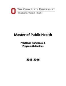 Master of Public Health. Practicum Handbook & Program Guidelines