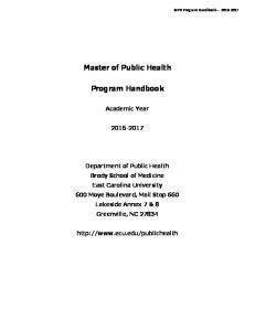 Master of Public Health. Program Handbook