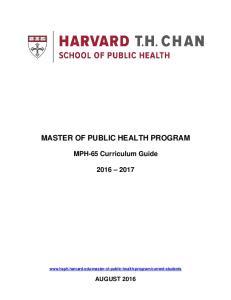 MASTER OF PUBLIC HEALTH PROGRAM