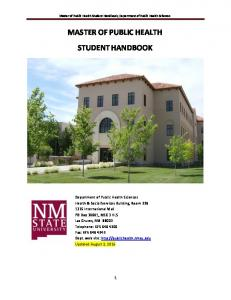 Master of Public Health Student Handbook, Department of Public Health Sciences MASTER OF PUBLIC HEALTH STUDENT HANDBOOK