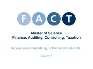 Master of Science Finance, Auditing, Controlling, Taxation