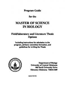 MASTER OF SCIENCE IN BIOLOGY